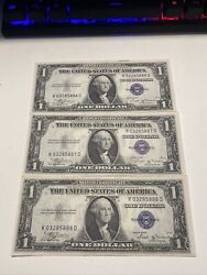 Top Rare 3 Of 1935b Us Dollar 1 Silver Certificates Consecutive Numbers 888 Unc