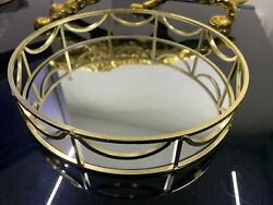 Gold mirror candle tray plate wedding table decorative mirror tray Round 24 CM