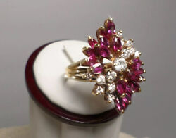 Vintage Luxurious Natural Diamond And Ruby 18k Yellow Gold Cluster Ring 1950's