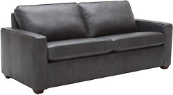 Brand Andndash Rivet Andrews Contemporary Top-grain Leather Sofa With Removable Cushio