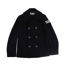 Nwt Off White C/o Virgil Abloh Navy Double Breasted Coat Size M 1400
