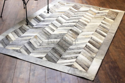 Bunkar Hand-stitched Cowhide Leather Rug And039grey Chevronand039 9and039x12and039 270cms X 360cms