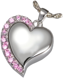 Cremation Memorial Jewelry Platinum Shine Heart Pink Stones + Text Engraving
