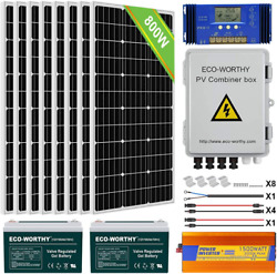 Eco-worthy 800w 24v Solar Panel Off Grid System Kit With Battery 8pcs 100w Mono