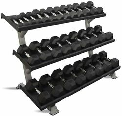 Inflight 54 3-tier Db Rack With 10 Pair 5-50lb Rubber Hex Set Free Shipping