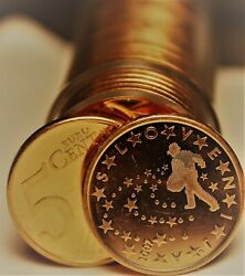Gem Unc Roll 40 Slovenia 2007 5 Euro Cent Coinsman Sowing Seeds1st Year Ever