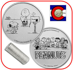 2021 Snoopy And Charlie Brown Valentine 1 Oz Silver Round - Peanuts - 20 Coin Roll