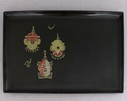 Large Vintage Couroc Serving Cocktail Tray Inlaid Brass Mosaic Circus Clowns 18
