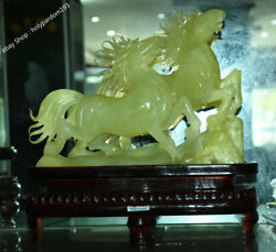 13 Chinese Natural Green Jade Jadeite Carved Two Horse Horses Success Statue