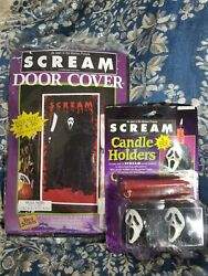 Vintage 90's Scream Movie Ghostface Candle Holders And Doorcover Halloween Decor
