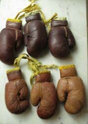 Miniature Boxing Gloves Vintage Wilson 3 Pair 6 Total Leather Rearview Mirror