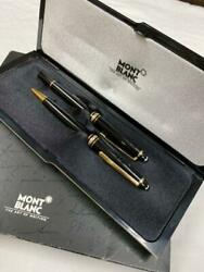 Mont Blanc Ballpoint Pen And Fountain-pens Black Gold W/case Used Very Good F/s