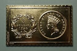 1854 United States Us Small Indian Head 3 Dollar Numistamp 1980 Medal Mort Reed