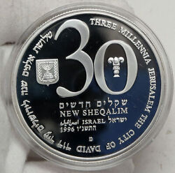 1996 Israel 48th Anniv Jewish State Vintage Proof Silver 30 Shekels Coin I88190