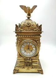 Antique Mid 19th Century French Japy Freres Gilt Brass Mantle Clock