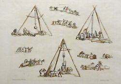 """Antique Etching Aquatint """"machines"""" By W.h. Pyne And Nattes Published August 1802"""
