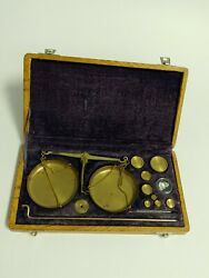 Watchmakers Jewelry Or Gold Scale In Box Tool Mint Vintage Condition Complete