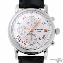 Star Chronograph Gmt Automatic 7067 Silver Dial Ss Men's Watch [b0203]