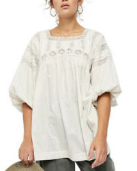 Free People Azalea Lace Tunic Balloon Sleeves Blouse Natural M L Nwt 128 Abfb