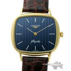 Longines Flagship Square L847.4 Manual Blue Dial 750yg Ss Menand039s Watch [b0203]