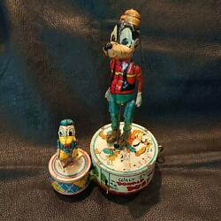 Vintage 1946 Disney Line Mar Tinplate Donald Goofy Wind Up Toy Very Rare