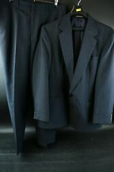 Haggar Men's Pinstriped Polyester Wool Suit Jacket Size 42 And Slacks Size 36 X 30