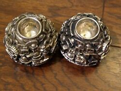 Vintage Pair Of Unique Cities Buildings Sterling Silver Candle Holders 2.25 In