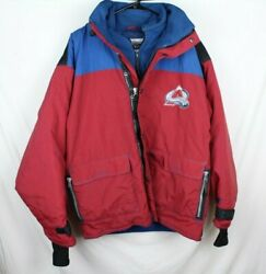 Vintage Colorado Avalanche Champion Jacket Red Blue Mens Large Insulated