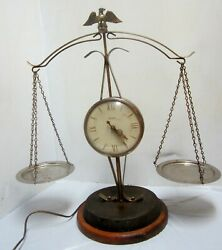 Vintage Scales Of Justice Electric Clock By United. Working But Unrestored