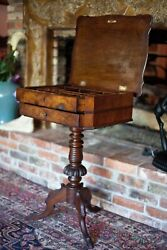 Antique Victorian 1840s Sewing Side Table Crotch Burl Mahogany Walnut And Flip Top