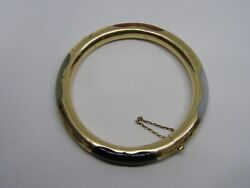 Vintage 1970and039s 14 Kt. Gold And Multi Color Jade/jadeite Bangle With Safety Chain
