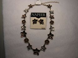 Napier Goldtone Bronzeand White Stones 15 Necklace And Earrings Set -new-50.00