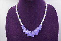 Awesome Signed Italia Crea Sterling Silver Pearl And Purple Jade Necklace 19l