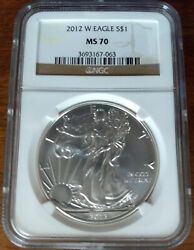 2012-w Ms 70 Burnished 1 American Silver Eagle Ngc Brown Scales