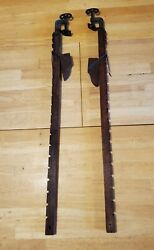 3and039 Pair Of 1917 Antique Wood And Cast Iron Adjustable Clamps Carpentry Woodworking