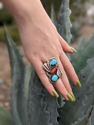 Wow Native Southwestern Ring Mid-century Coral Turquoise Gorgeous Old Pawn