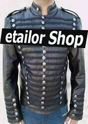 New Mens Leather Hussar Jacket Steampunk Military Uniforms Jackets For Sale