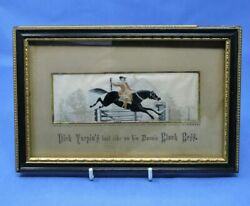Framed Woven Silk Panel Of Dick Turpinand039s Last Ride On His Bonnie Black Bess