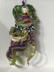 Katherine's Collection Jester Frog Mardi Gras Ornament Band Drum 28-29741