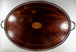 Sterling Silver Gallery Tray W Inlaid Wood
