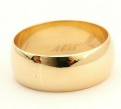 Antique 1855 Engraved 14k Yellow Gold 9mm Wide Band Ring Size 12.25 Estate