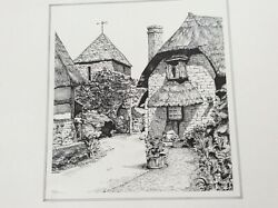Used Lovely Black/ White Print If thatched Cottages At Gretton. Signed Cotter