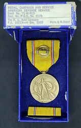 Wwii Us Army American Defense Medal, Ribbon, Lapel - Slot Brooch - D.l. Auld