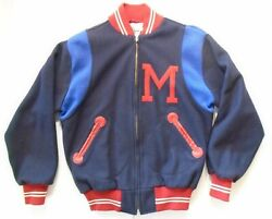 Ebbets Field Flannels Small 1950 Milwaukee Brewers Wool Varsity Jacket Navy Red