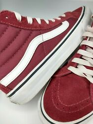 Vans Off The Wall High Top Skateboard Maroon Burgundy Suede Canvas US M 6.5 W 8