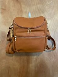 New Without Tags Unisex Brown Faux Leather Backpack Diaper Bag 3 Piece Set $30.00