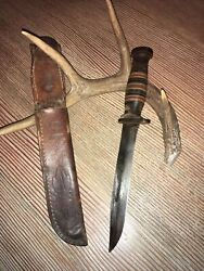 Vintage Military Aerial Hunting Fighting Knifeawesome Leather Sheath