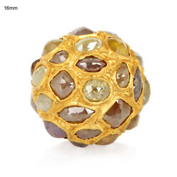 7.51ct Ice Diamond Bead Solid 18k Yellow Gold Spacer Finding Jewelry Accessory