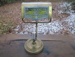 Antique Green Glass Filigree Bankers Lamp Dual Adjustable 16 X 8.75 And 8.5 Lbs.