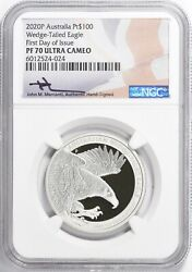 2020-p Australia First Day Of Issue 100 Wedge Tailed Platinum Eagle Ngc Pf70